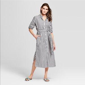 Women's striped long sleeved midi shirtdress